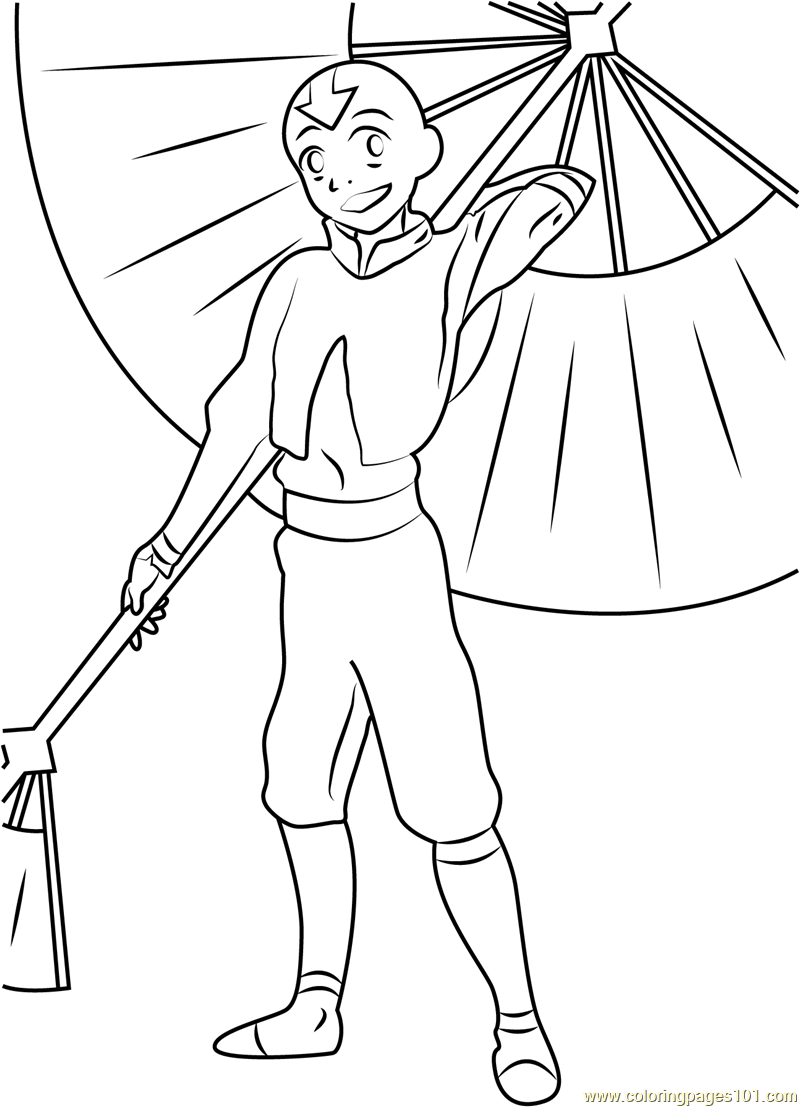 Aang with Umbrella Coloring Page Free Avatar The Last Airbender