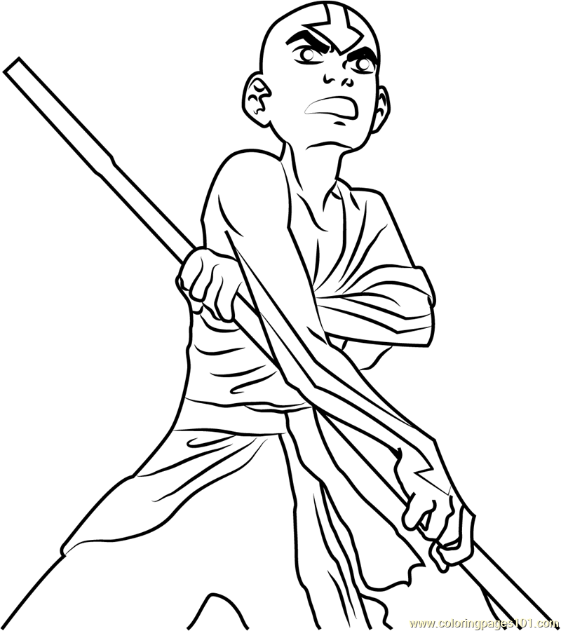 Angry Aang Coloring Page Free Avatar The Last Airbender
