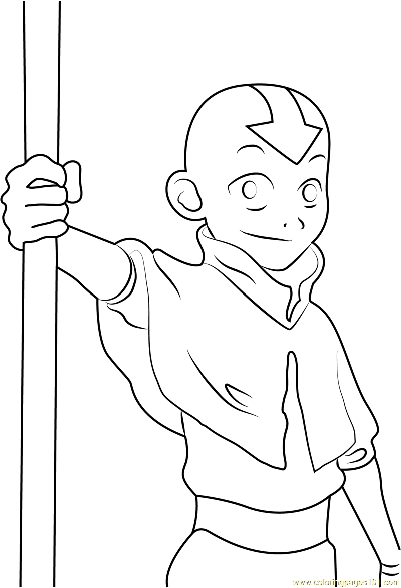Cute Aang Coloring Page For Kids Free Avatar The Last Airbender Printable Coloring Pages Online For Kids Coloringpages101 Com Coloring Pages For Kids
