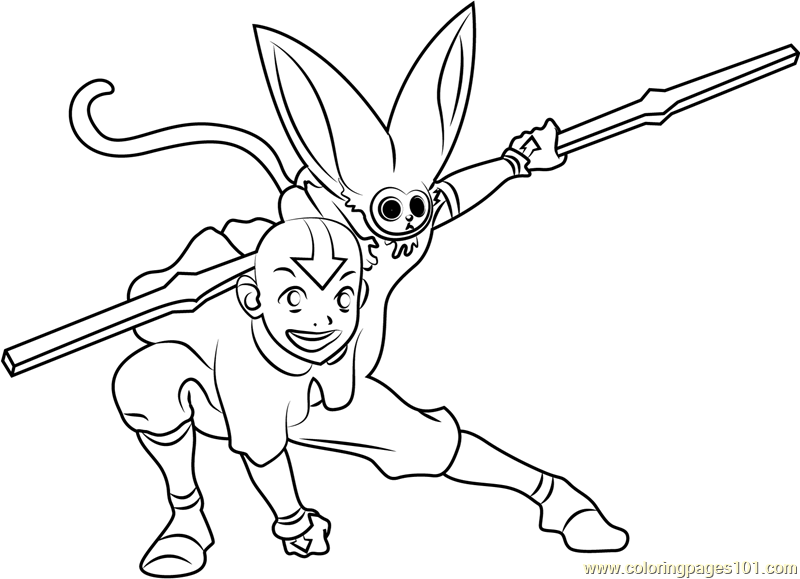 Kung Fu Avatar The Last Airbender Coloring Page  Free Avatar The