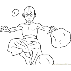 Aang Airbending Free Coloring Page for Kids