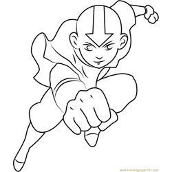 Aang Jumping Free Coloring Page for Kids