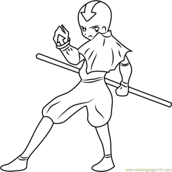 Aang Looking Back Free Coloring Page for Kids