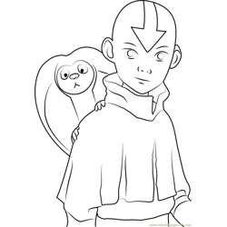 Aang See Free Coloring Page for Kids