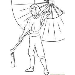 Aang with Umbrella Free Coloring Page for Kids
