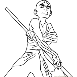 Angry Aang Free Coloring Page for Kids