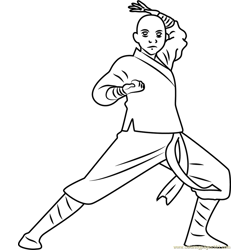 Avatar Aang Free Coloring Page for Kids