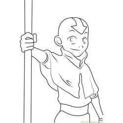 Cute Aang Free Coloring Page for Kids