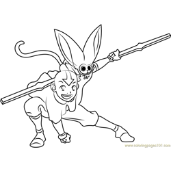 Kung Fu Avatar The Last Airbender Free Coloring Page for Kids