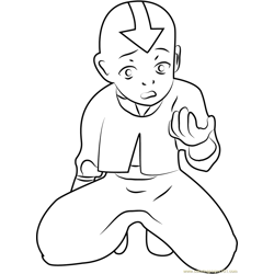 Nervous Aang Free Coloring Page for Kids