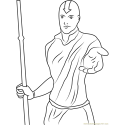 Standing Aang Free Coloring Page for Kids