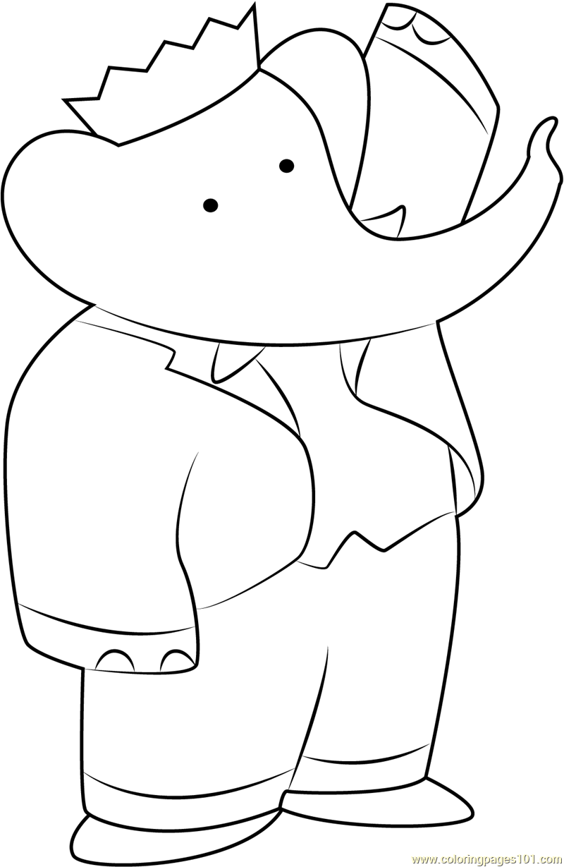 Babar the Elephant Coloring Page - Free Babar Coloring Pages ...