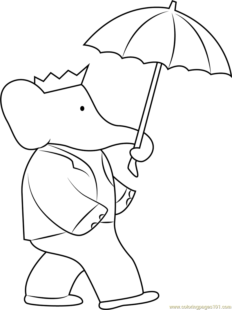 Babar with Umbrella Coloring Page Free Babar Coloring Pages