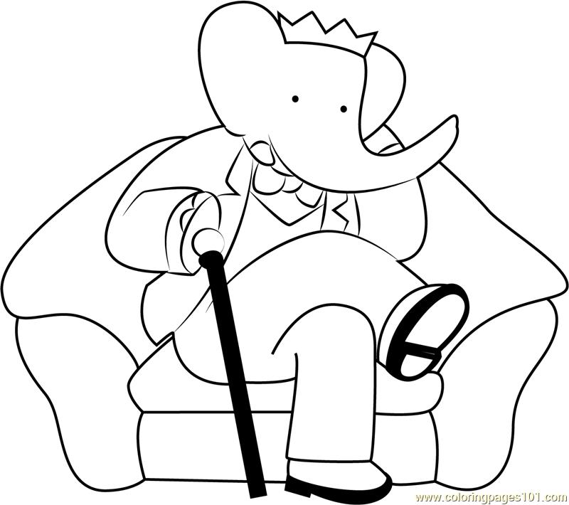 King Babar Sitting on Sofa Coloring