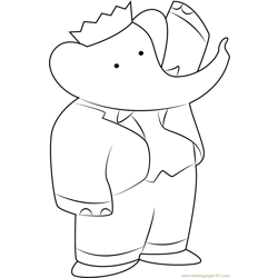 Babar the Elephant Free Coloring Page for Kids