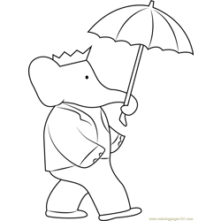 Babar with Umbrella Free Coloring Page for Kids