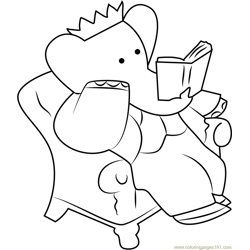 King Babar reading a Book Free Coloring Page for Kids
