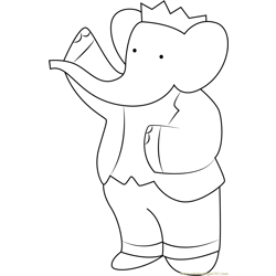 King Babar say Hii Free Coloring Page for Kids
