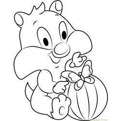 Baby Sylvester with Football Free Coloring Page for Kids
