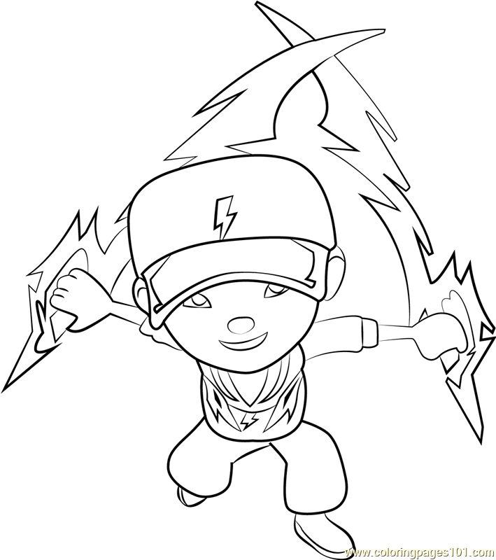 Boboiboy Thunderstorm Coloring Page Free Boboiboy Coloring Pages
