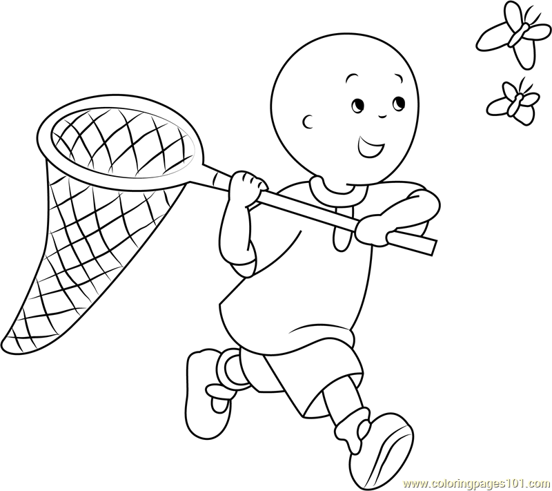 Caillou Coloring Pages Pdf : Caillou catching a butterfly coloring page free