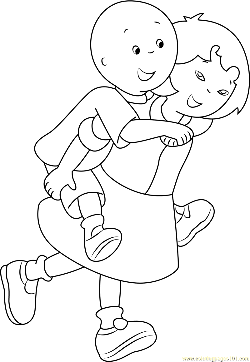 Caillou Coloring Pages Pdf : Caillou enjoying coloring page free