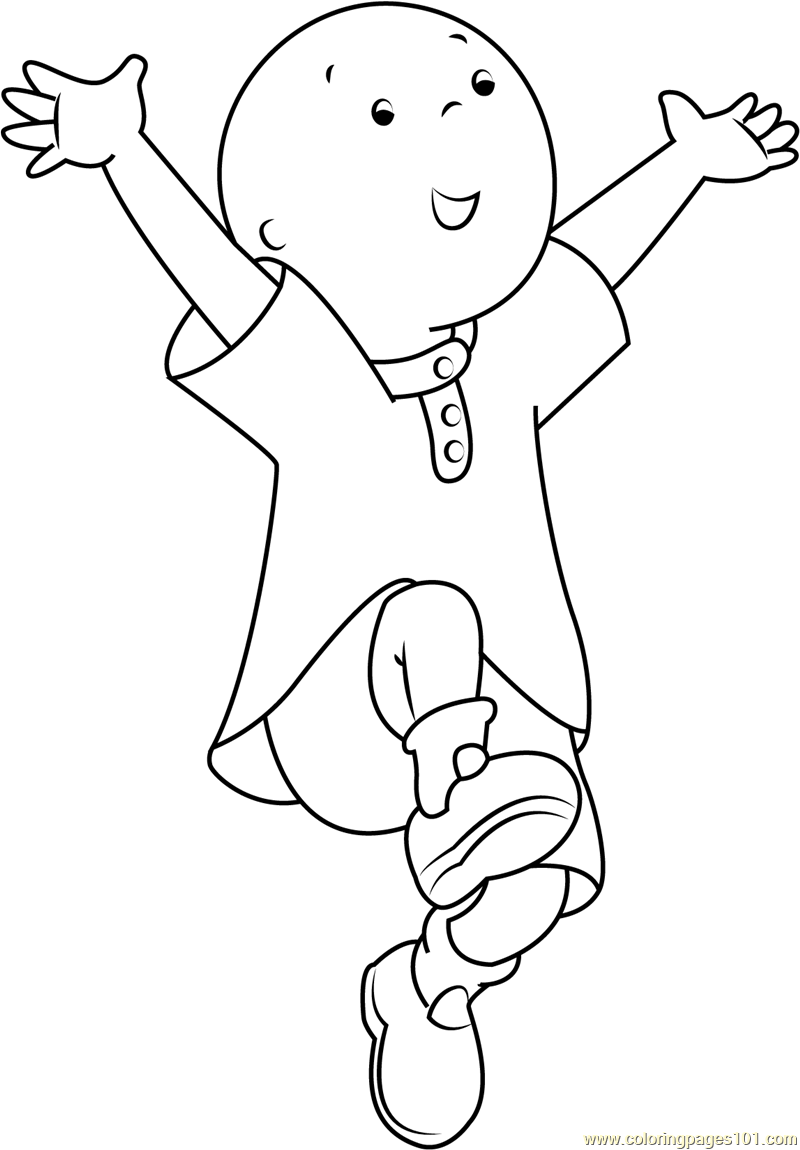 jump coloring pages for kids | Caillou Jumping printable coloring page for kids and adults