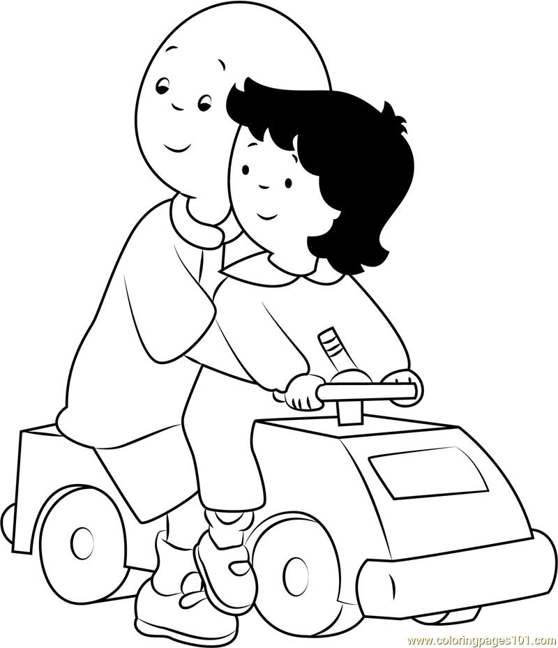 Caillou Playing With Car Coloring Page Free Caillou