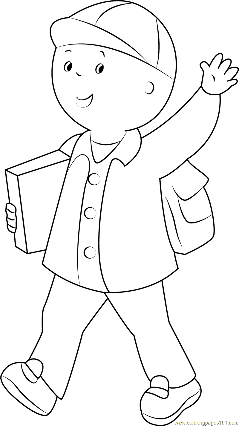 Coloring pages caillou - Caillou Say Hi Coloring Page