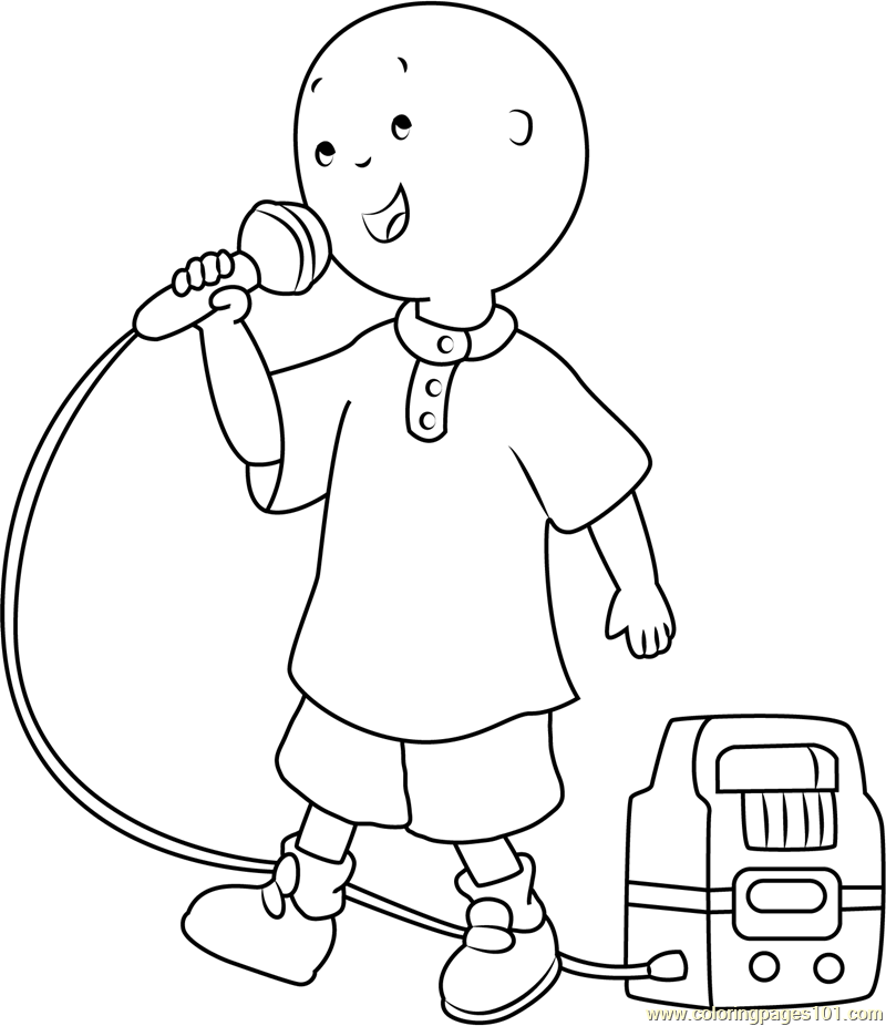 Caillou Singing Coloring Page