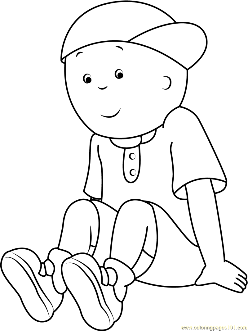 Caillou Sitting Alone Coloring Page Free Caillou