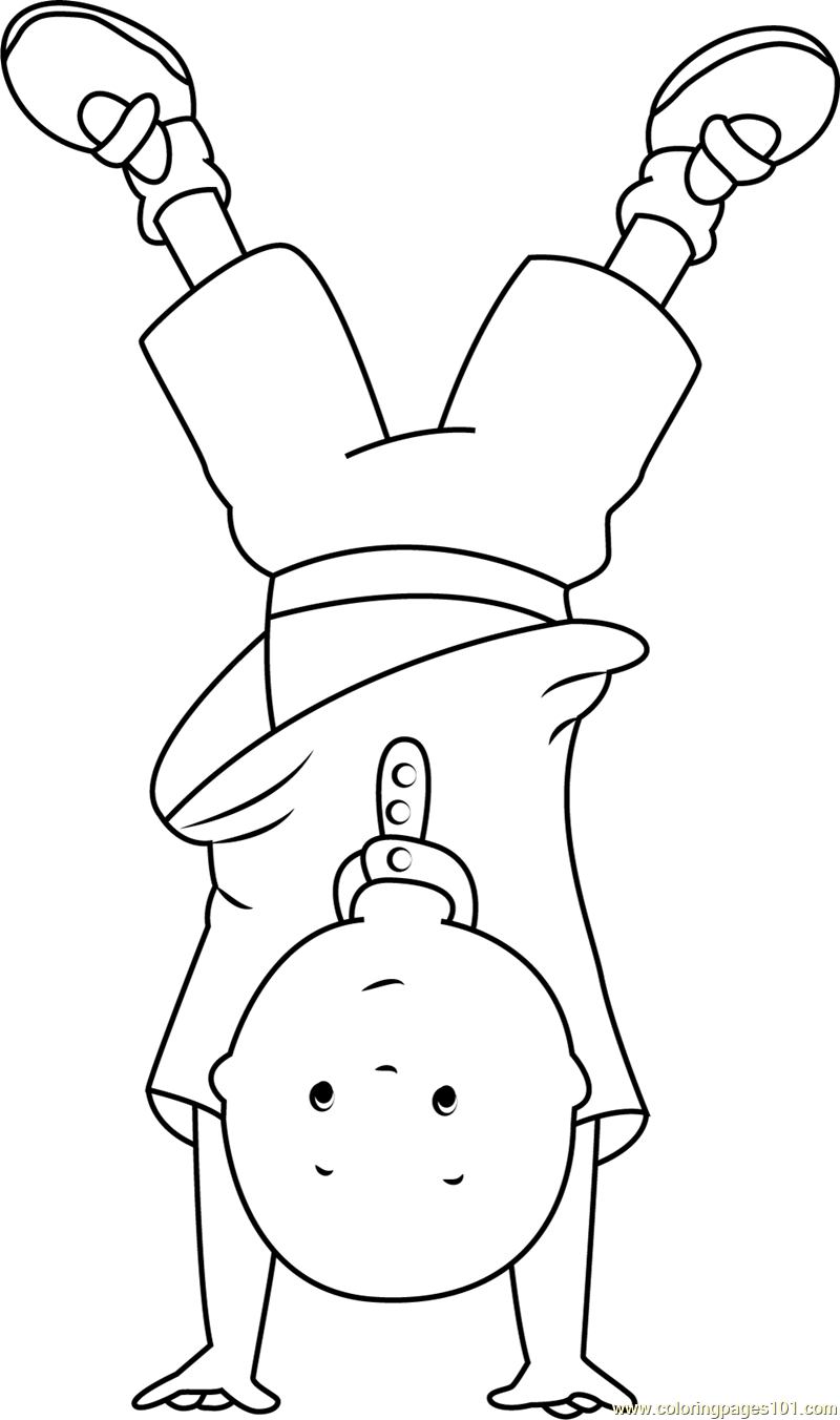 Caillou Standing on Hands Coloring