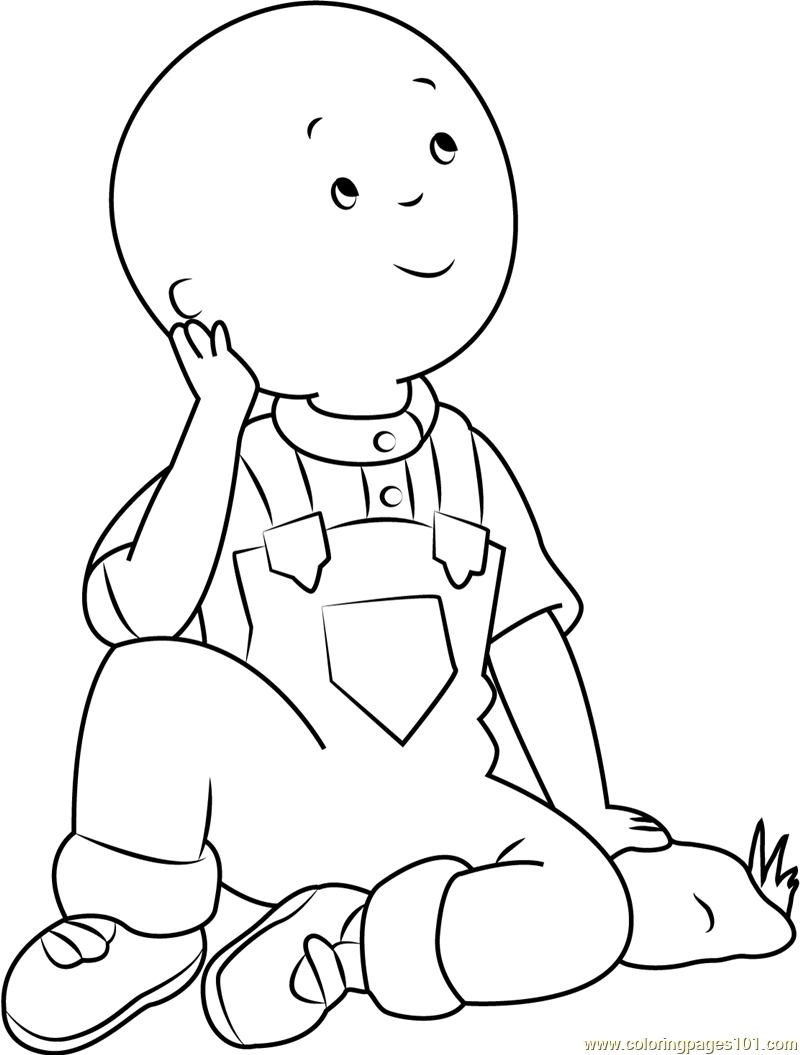 Caillou thinking coloring page free caillou coloring for Thinking of you printable coloring pages