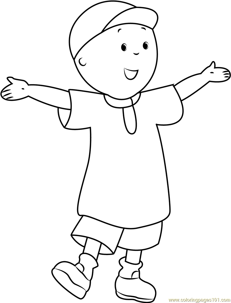 Caillou Coloring Pages Pdf : Caillou welcoming you coloring page free