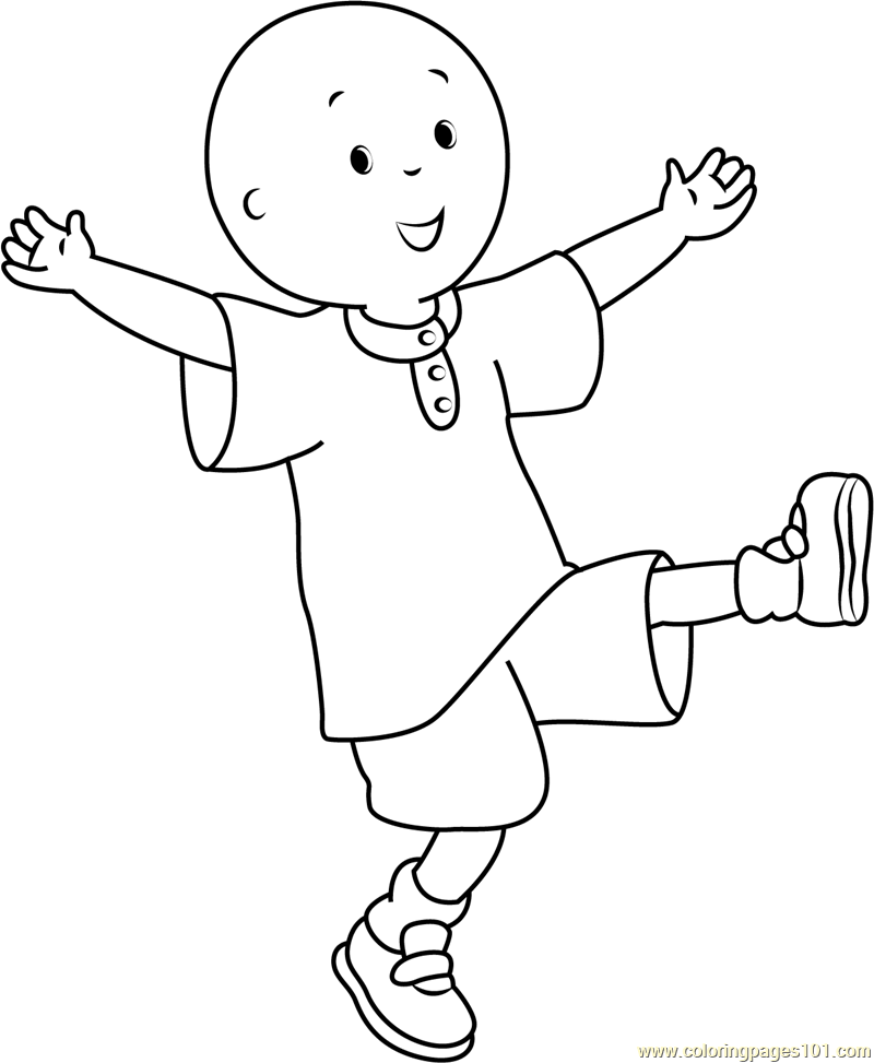 Caillou having Fun Coloring Page