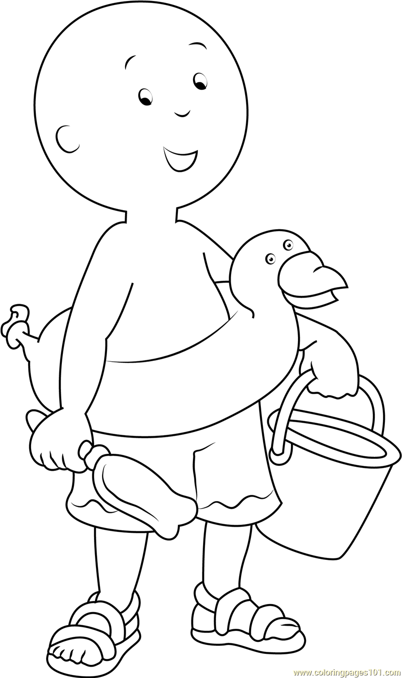 Caillou on Beach Coloring Page