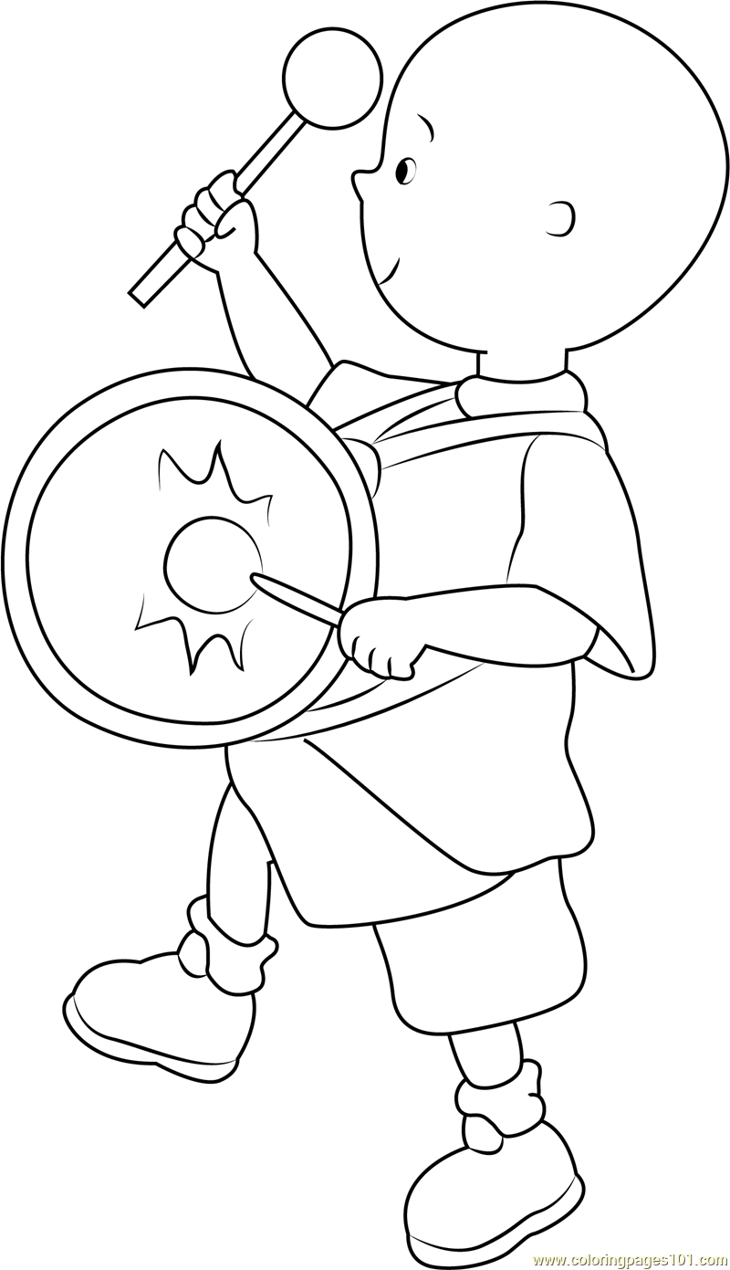 Caillou playing Drums Coloring