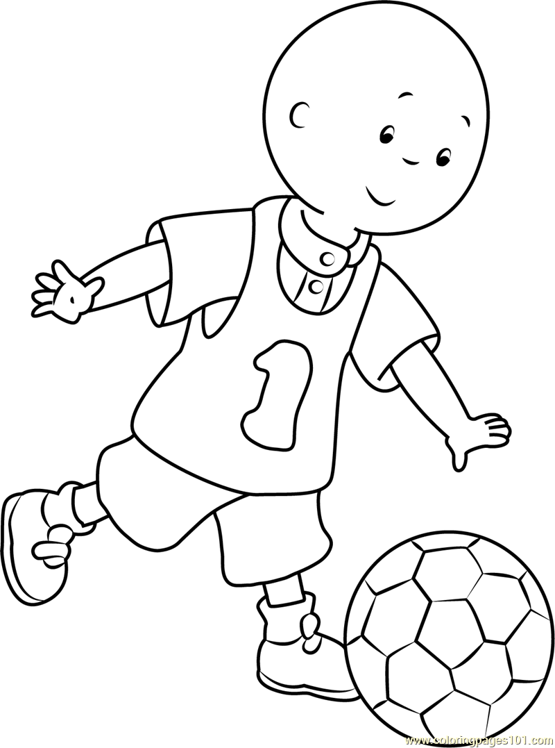 Caillou playing Football Coloring