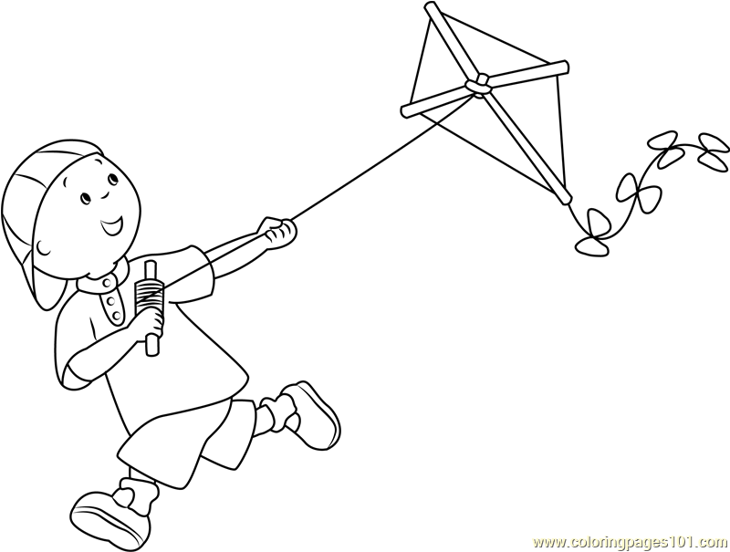 Caillou with Kite Coloring Page - Free Caillou Coloring Pages ...