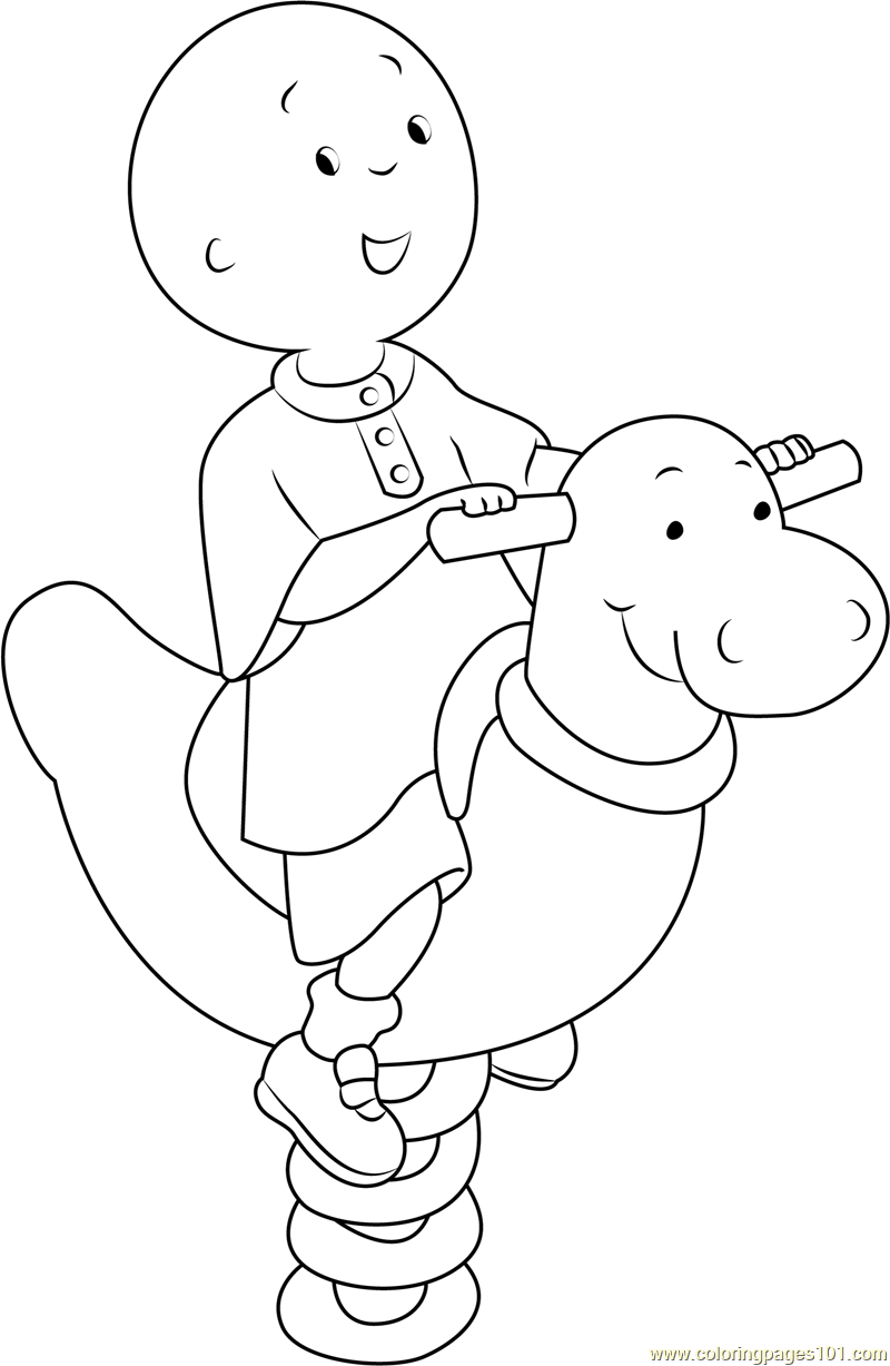 Happy Caillou Coloring Page Free