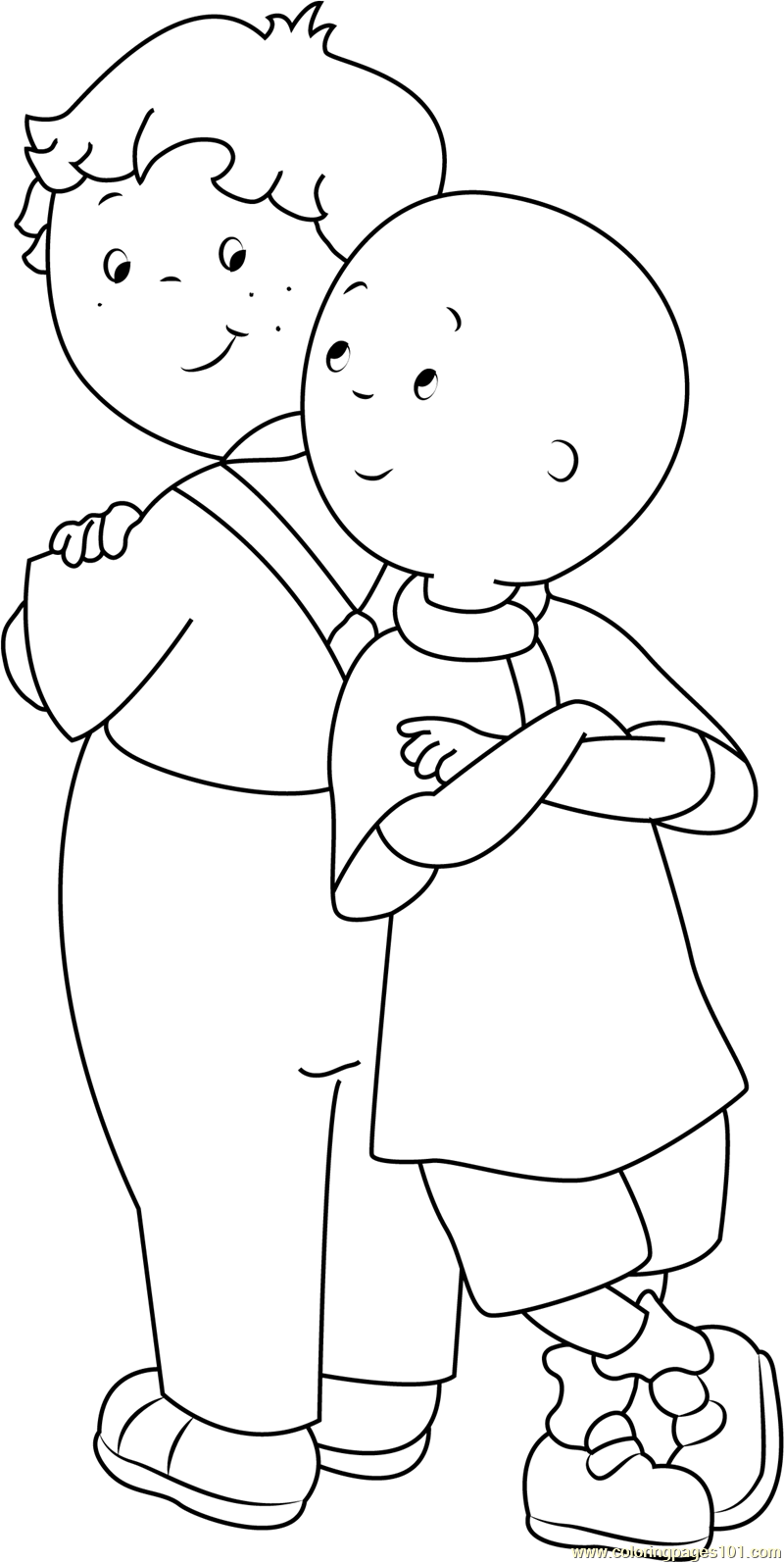 Standing Back to Back Coloring Page Free Caillou