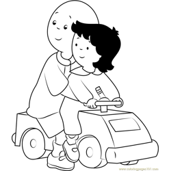 Caillou Playing with Car