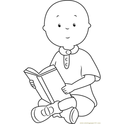 Caillou Reading a Book Free Coloring Page for Kids