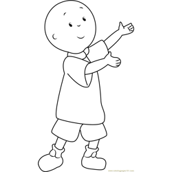 Caillou Showing a Something Free Coloring Page for Kids
