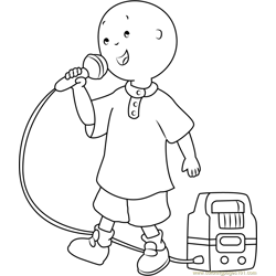 Caillou Singing Free Coloring Page for Kids