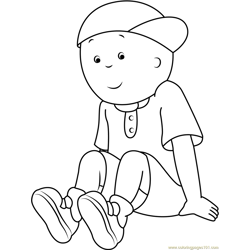 Caillou Sitting Alone Free Coloring Page for Kids