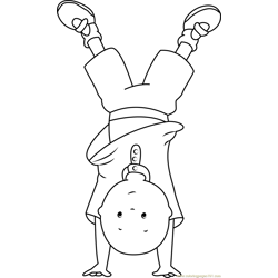 Caillou Standing on Hands Free Coloring Page for Kids