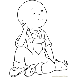 Caillou Thinking Free Coloring Page for Kids