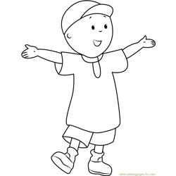 Caillou Welcoming You Free Coloring Page for Kids