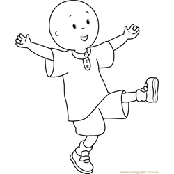 Caillou having Fun Free Coloring Page for Kids